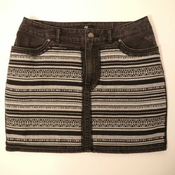 d6f979f11 H&M Skirts | Hm Aztec Print Black Denim Skirt | Poshmark